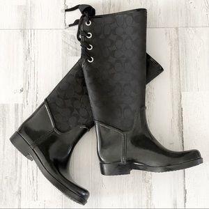 Coach Tristee Lace-Up Black Rain Boots Size 7
